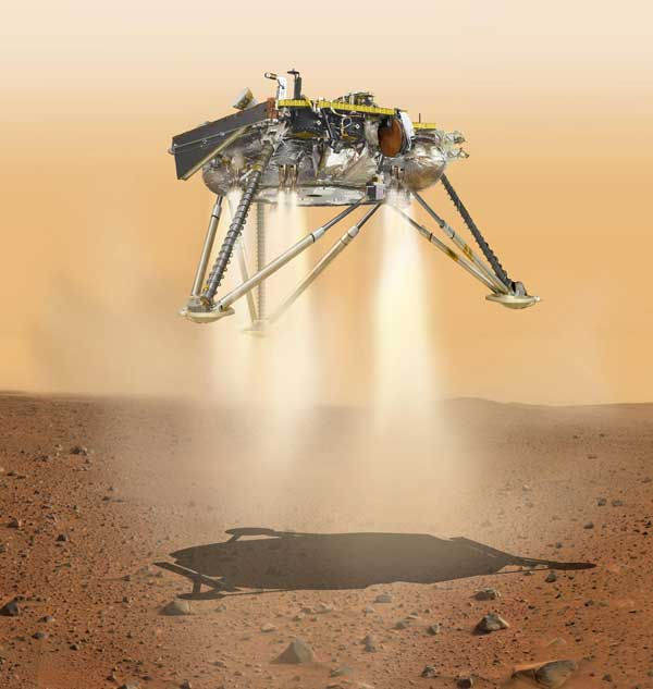 InSight lander about to land on the surface of Mars